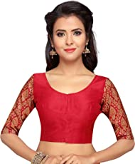 STUDIO SHRINGAAR WOMEN'S BROCADE SLEEVE READYMADE SAREE BLOUSE WITH ROUND NECK