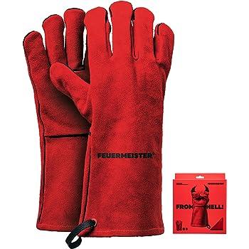 Feuermeister Premium BBQ Grillhandschuh aus hochwertigem Leder in Rot, Größe 10, 1 Paar