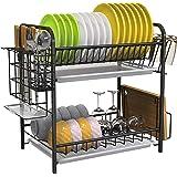 Égouttoir à Vaisselle, Égouttoir Vaisselle INOX à 2 Niveaux avec Porte-Couteau à Ustensiles et Porte-Planche à Découper 3 Pan