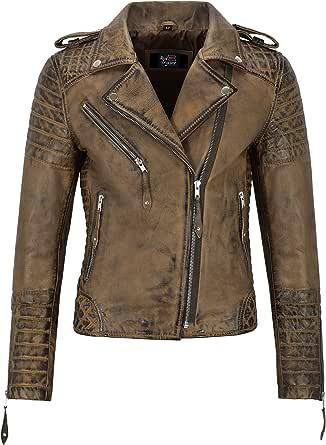 Smart Range Leather Co. Ltd. Giacca in Pelle da Donna Classico Stile da Motociclista 100% Vera Pelle Napa 2260