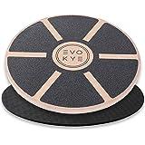 Evo Kye Balance Board (rond) met anti-slip onderlaag, balansapparaat van stevig, hoogwaardig hout, optimaal fitnesssportappar
