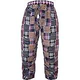 Gheri Men's Cotton Thick Patchwork Elastic Drawstring Loose Trousers Winter Pants