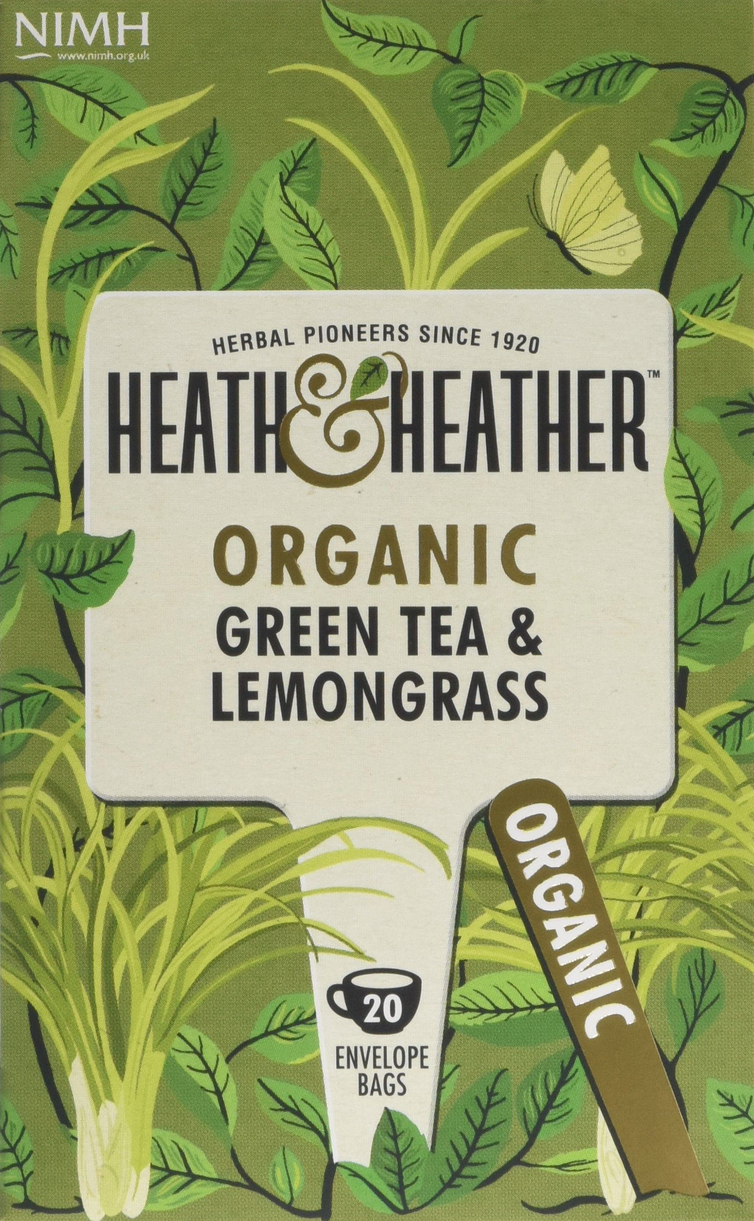 Heath & Heather organic green tea tea bundle (soil association) (green tea) (6 packs of 20 bags) (120 bags) (a vegetal tea with aromas of lemongrass) (brews in 2-3 minutes, up to 15 min)