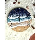 Reloj de pared océano arte de resina 12 '' (30 cm) de diámetro, decoración de la pared, pintura azul, decoración del hogar, f