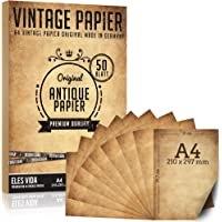 50 morceaux de vieux papier 100g / m2 plus 5 feuilles de papier kraft, papeterie antique DIY A4, impression de communion…