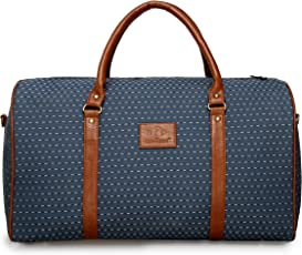 The Clownfish Tapestry Faux Leather 1200 Cms Vintage Light Blue Soft Travel Duffle bag