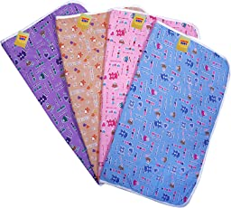 FARETO New Born Baby 4 Plastic Sheets Nappy Changing Sleeping Water Proof Bed Protector Mat with Foam Cushioned, 0-6 Months (Multicolour)