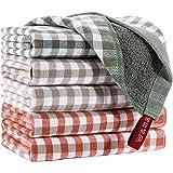 EliteBond - Strofinacci in cotone per lavare stoviglie, strofinacci da cucina, in spugna, assorbenti, a quadretti, 33 x 33 cm