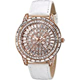 Peugeot Women's Crystal Couture Leather Bands Elegant Evening Watch