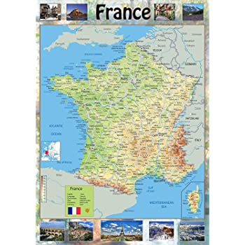 Map Of France With Key.Map Of France Tourist Illustrated With Pictures Of Key Points Of