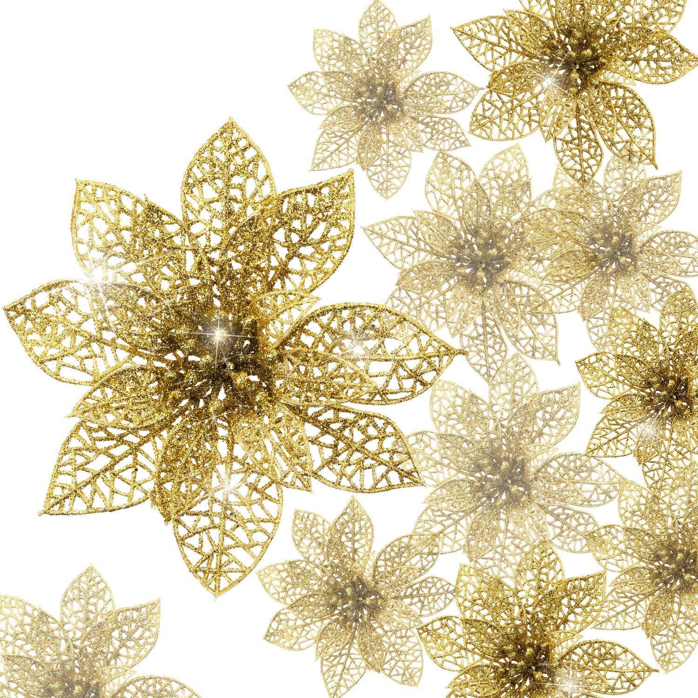 Boao 24 Piezas de Poinsettia Brillante Adorno de Árbol de Navidad Flores Navideñas (Azul)