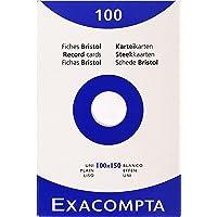 EXACOMPTA 13302E Étui refermable de 100 fiches - bristol uni non perforé 100x150mm Blanc