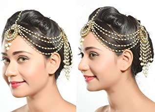 Rich Lady Traditional Gold Finishing With Pearl And Stone Matha Patti For Women & Girls