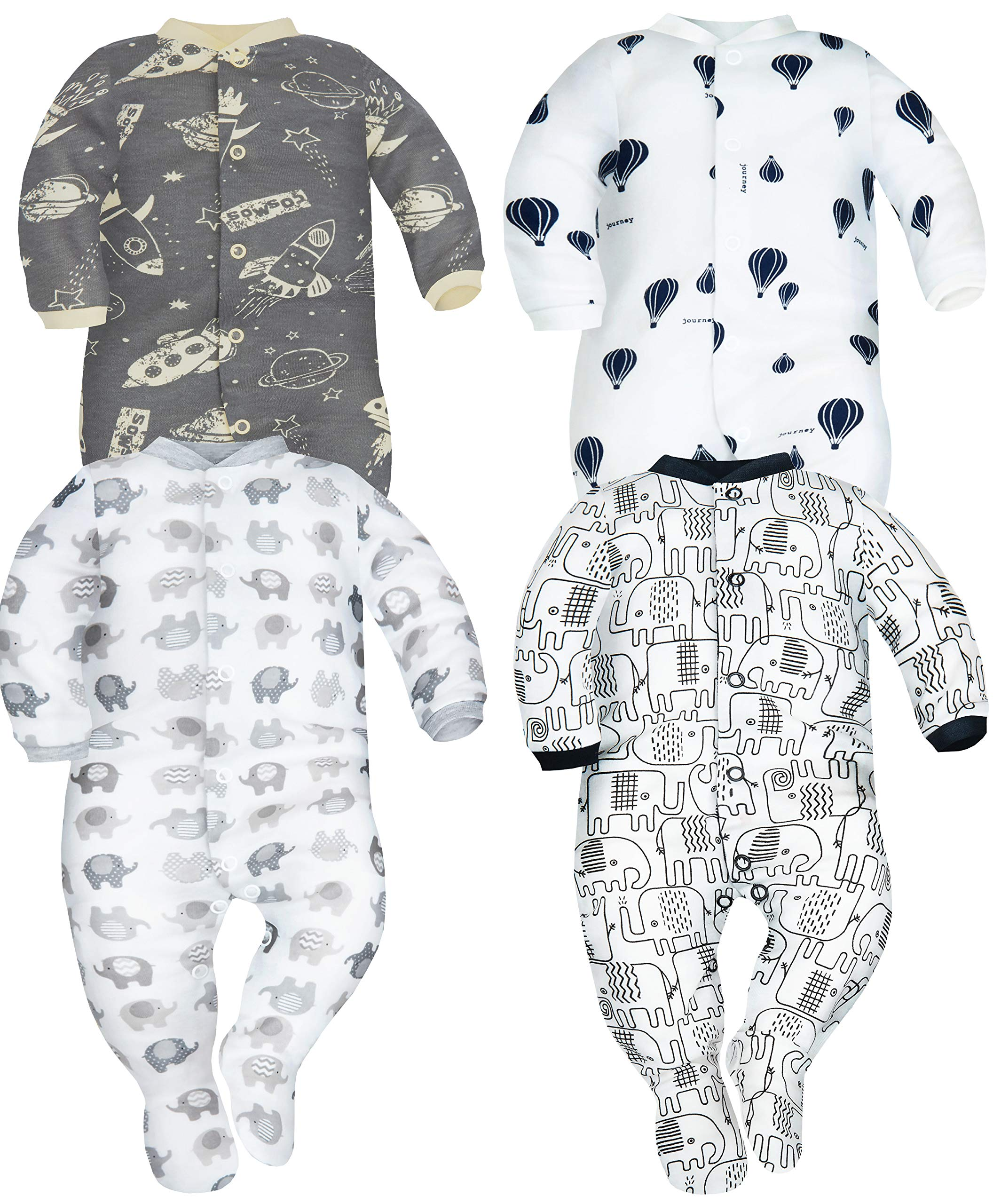 Sibinulo Niño Niña Pijama Bebé Pelele de ABS -Tamaños 80-92 - Pack de 4 6