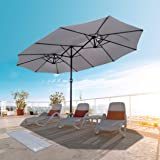 VOUNOT Parasol de Jardin Double Aluminium 270 x 460cm avec Manivelle, Toile 180 GR/m2 Protection Solaire Hauteur 2m50 Résista