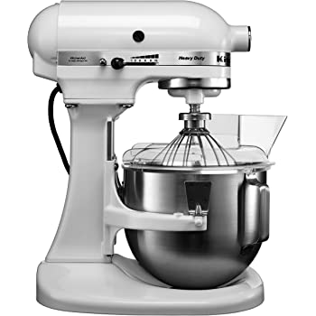 KitchenAid 5KPM50EWH 10 Speed 4.8 Litre (5Qt) 315 Watt Bowl Lift Stand Mixer with Flat Beater, Dough Hook, Whisk, Two Stainless Steel Bowls & Pouring Shield (White)