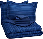 AmazonBasics 7-Piece Bed-in-A-Bag - Full/Queen, Royal Blue Calvin Stripe (Includes 1 bedsheet, 1 Comforter, 4 Pillowcases, 1 Fitted Sheet)