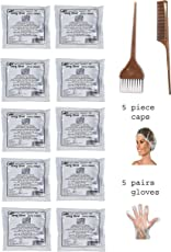AYU Black Henna 40g - Pack of 10 and 5 Hair Cap, 5 Pair Gloves, 1 Brush and 1 Tail Comb Combo
