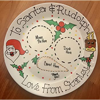 Santa & Rudolph Personalised Christmas Eve Plate: Amazon.co.uk ...