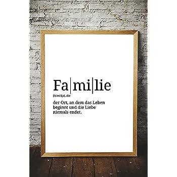 Poster Mit Definition | Motiv: Familie | Küche Wohnzimmer WG | Poster A3  Mit Sprüchen