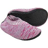 Ruiuzi Toddler Slipper Socks with Rubber Sole Non-Slip Knit Lightweight House Slippers for Boys Girls