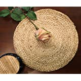 The Home Talk® Set of 2 Braided Jute Placemats, 35 cm Round, 2 Piece Set, Best for Bed-Side Table/Center Table, Dining Table/