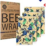 4 Pcs Bee Wrap Made in France (3+1 OFFERT), Emballage Alimentaire réutilisable à la Cire d'abeille + Ebook OFFERT. Cire 100%