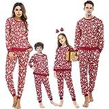 Akalnny Pijamas de Navidad Familia Manga Larga, Ciervo Ajuste Delgado y Suave 2 Piezas Ropa de Dormir Conjunto Juego Homewear
