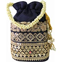 Milan's Creation Raw-Silk Designer Potli Bag for women with Golden Embroidery and Pearl Handle Tassel