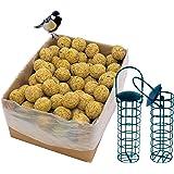 dobar Lot de 100 Boules de Graisse avec Filet - 2 Supports de Boules de Graisse à Suspendre - Nourriture pour Oiseaux Sauvage