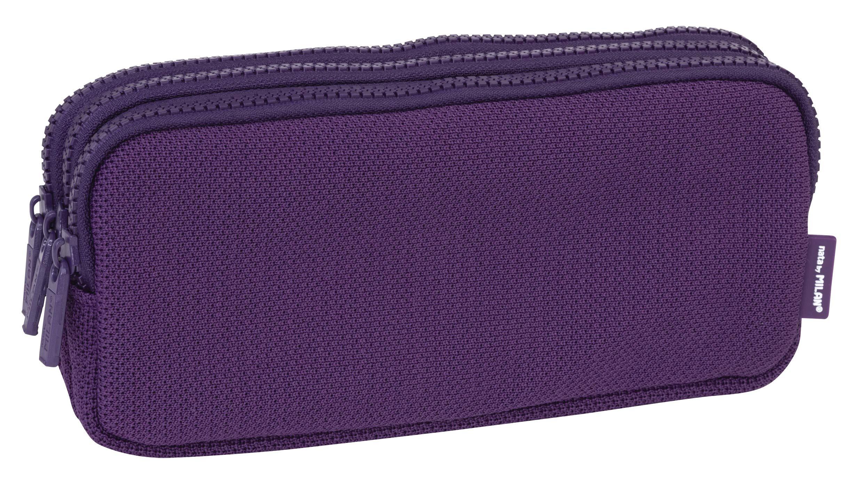 MILAN Portatodo 3 Cremalleras Knit Deep Purple Estuches, 22 cm, Morado