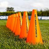 FORZA Cônes de Délimitation pour l'Entraînement de Football – Lot de 10 ou 100 Plots Oranges (Trois Tailles)