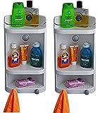 Cipla Plast Plastic Caddy Corner Cabinet    White, Small    Set Of 2