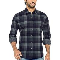GLOBALRANG Men's Checkered Gray Casual Shirt