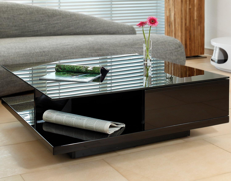 Couch Tisch Schwarz Hochglanz Mit Schublade 100x100cm Quadratisch