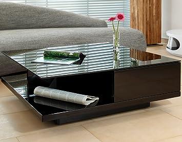 Couch-Tisch schwarz Hochglanz mit Schublade 100x100cm quadratisch ...