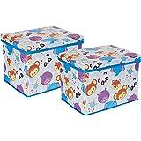 Amazon Brand - Jam & Honey Toy Storage Box, Pack of 2, Blue