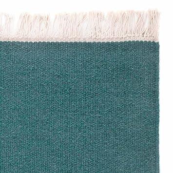 URBANARA Teppich Manu 100 Woll Baumwoll Mischung Wohnzimmer Mit Fransen Handgewebt