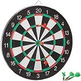 Relaxdays 10021465 Bersaglio Board X1 Freccette, 43 cm, Tabellone Double-Face, 6 Frecce in Acciaio, Classico, Bianco…