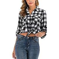 100% Cotton Women Flannel Plaid Shirt Blouse Long Sleeve Button Down Boyfriend Casual Check Shirts Classic Tops