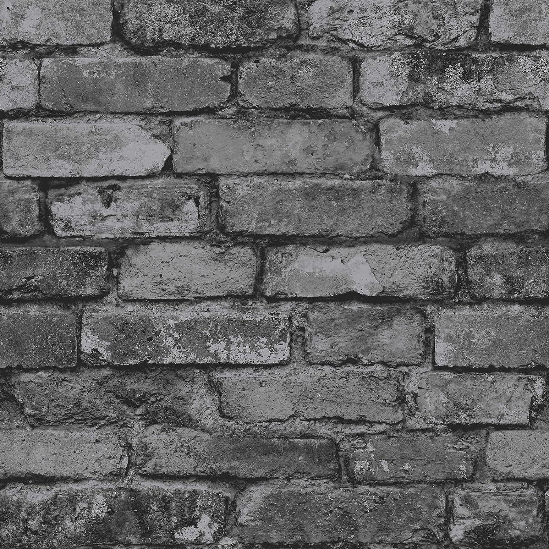 Brewster FD Rustic Brick Wallpaper Silver Black Amazon
