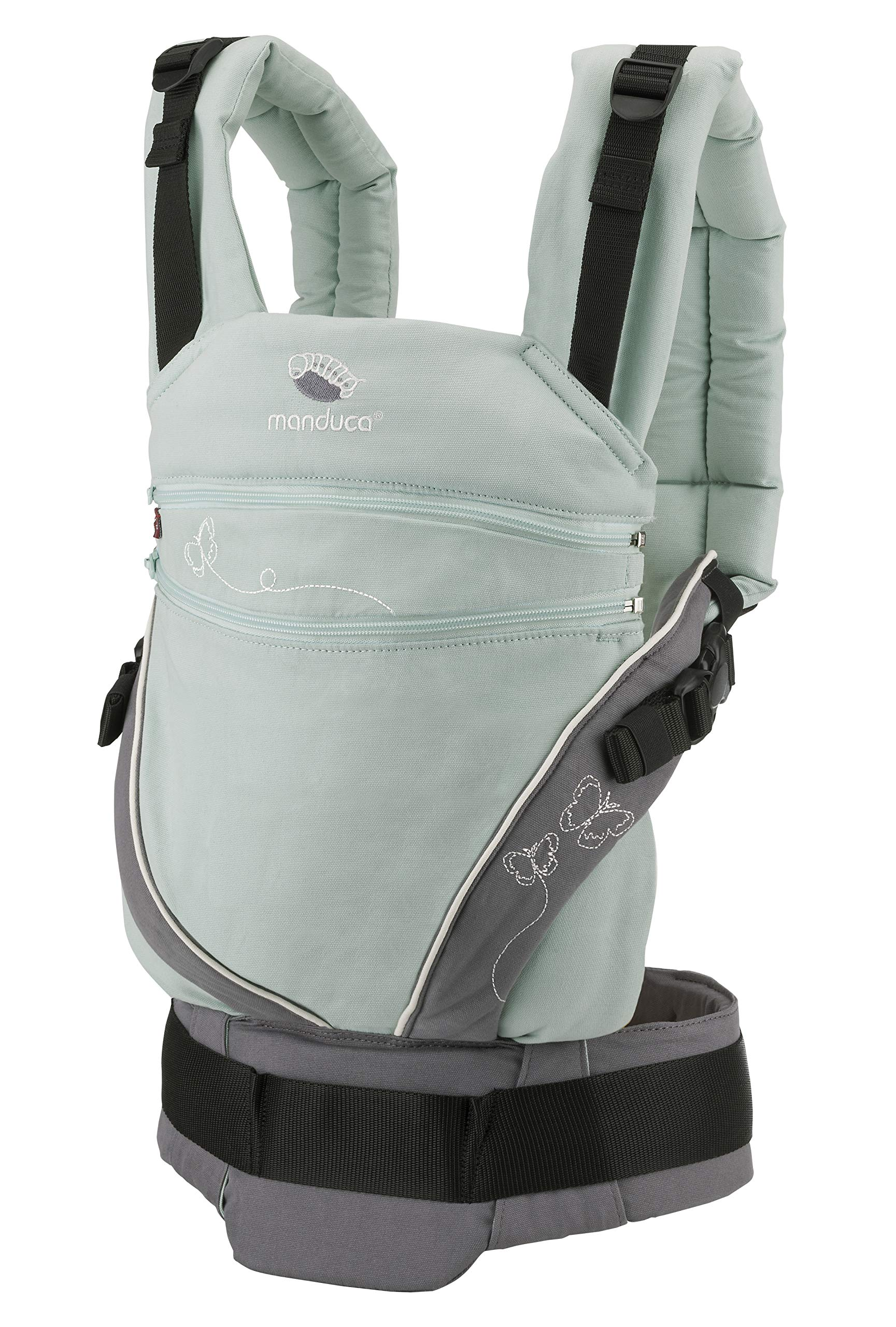 manduca XT Limited Edition > Butterfly Mint < Baby Carrier with Adjustable Seat, Front, Hip & Back Carry, Organic Cotton, No Accesories Needed, Designed for Babies from Newborn to Toddler (3.5-20kg) Manduca This baby carrier grows with your child from newborn to toddler: Infinitely adjustable seat (16 -50cm width) without buttons, knots, velcro or cord system. Innovative tension arches support baby's spine & hip Three height options thanks to the patented back extension & integrated Zip-in. Multifunctional headrest (classic hood or rolled up as neck support). No infant insert / accessories needed. One size Three carry positions (belly-to-belly, backpack and hip-seat). Not intended for forward facing. Supports the M-position 3