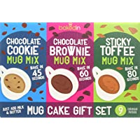 Bakedin - Mug Cake Gift Set - 9 Mug Cake mixes (Brownie, Cookie & Sticky Toffee Mug Pudding) - Bake in Microwave in just…
