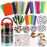 Hiveseen Juguete Manualidades para Niños, 1000+ Pcs Art and Craft Set Incluye Pompones, Limpiadores de Pipa, Palitos de Helad