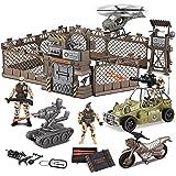 JOYIN Set giocattolo veicoli da cantiere inclusi base militare veicoli militari figure di azione da collezione soldati ed acc