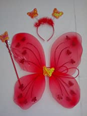 Timestar Fairy Butterfly Wings Costume For Baby Girl Angel(Red)