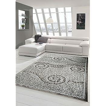 Carpetia Designer Teppich Wohnzimmerteppich Ornamente Glitzer Creme
