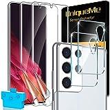 UniqueMe [2+2] Compatibel met Samsung Galaxy S21 Ultra 5G 6,8 inch TPU folie en pantserglas camerabescherming, [eenvoudige in