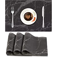 HOKIPO® PVC Vinyl Heat Resistant Placemats Set of 4 Dining Table Mats 45x30 cm, Black (AR3028)