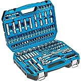 Högert Zestaw narzędzi w walizce – zestaw narzędzi – zestaw narzędzi do kluczy nasadowych śrubokręt grzechotkowy – czarno-nie